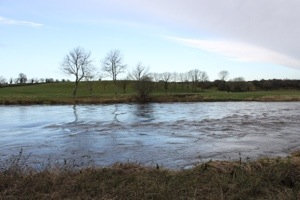 River Nore; notice ripples in water ... Bridge stone ruins just under the water